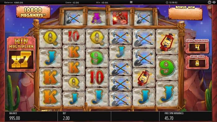 Diamond Mine Slot Feature Reels Screenshot