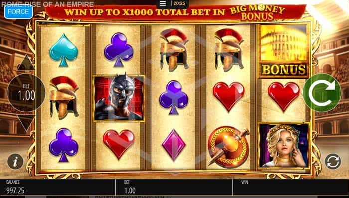 Rome Rise Of An Empire Slot Reels Screenshot