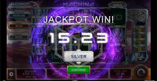 Silver Jackpot Win in Machina Megaways™ Slot by Kalamba Games, distributed by Relax Gaming and licensed under Big Time Gaming
