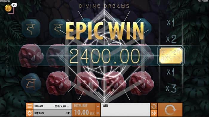Divine Dreams Slot Epic Win Screenshot