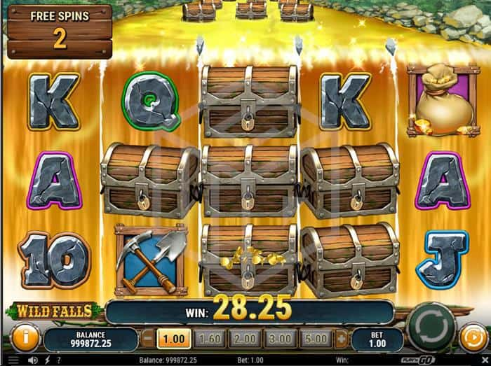 play n go - wild falls. Image showing freespins