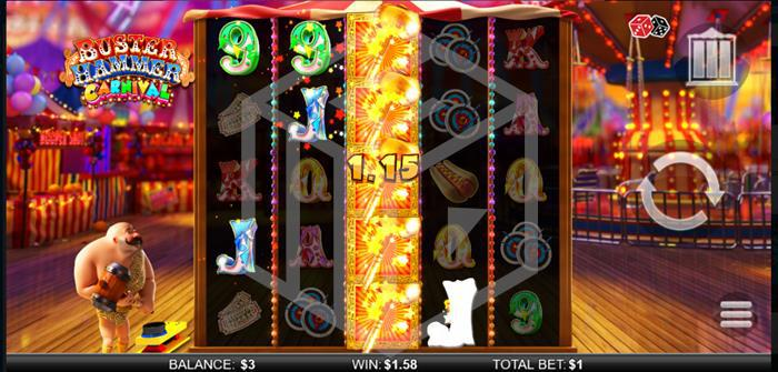 chance interactive - buster hammer carnival. Image showing wild reel
