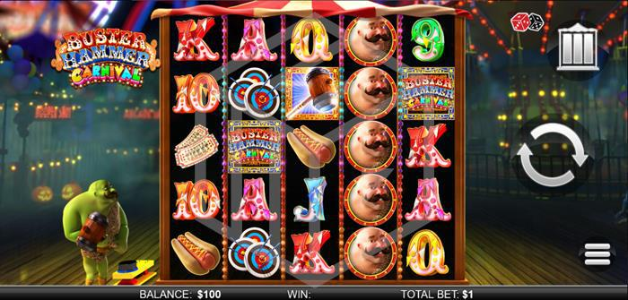 chance interactive - buster hammer carnival. Image showing reels