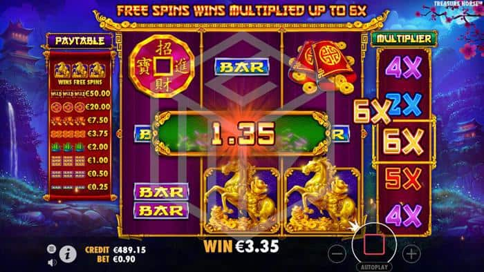 pragmatic - treasure horse. Image showing free spins
