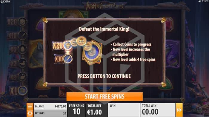 quickspin - ivan and the immortal king. Image showing free spin feature