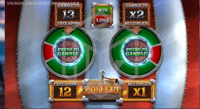 blueprint - vikin unleashed megaways. Image showing gamble feature