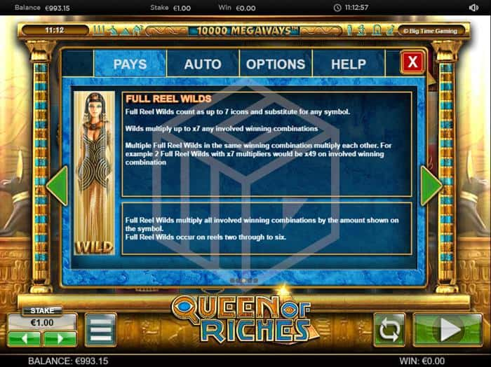 BTG - Queen of Riches. Image showing full reel multiplier