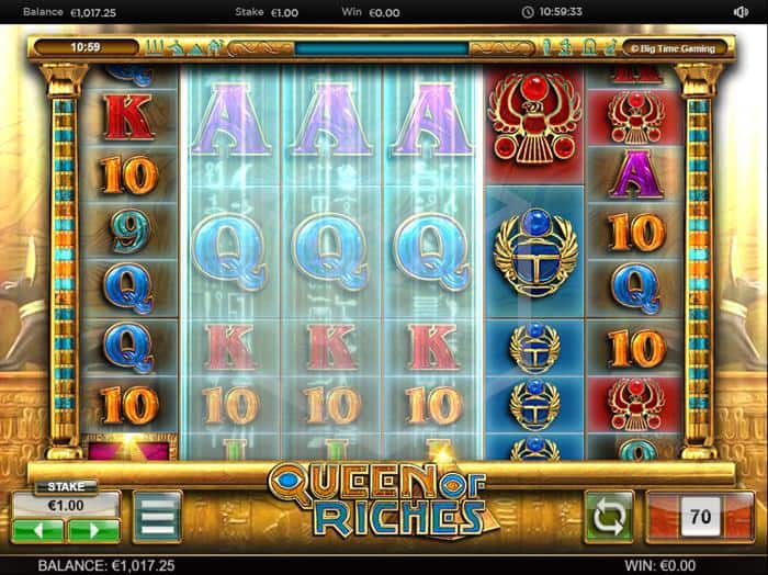 BTG - Queen of Riches. Image showing expanding reels