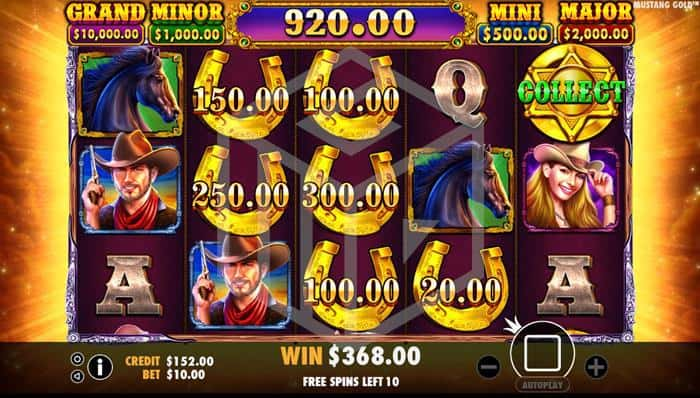 pragmatic - mustang gold. Image showing reels during freespins