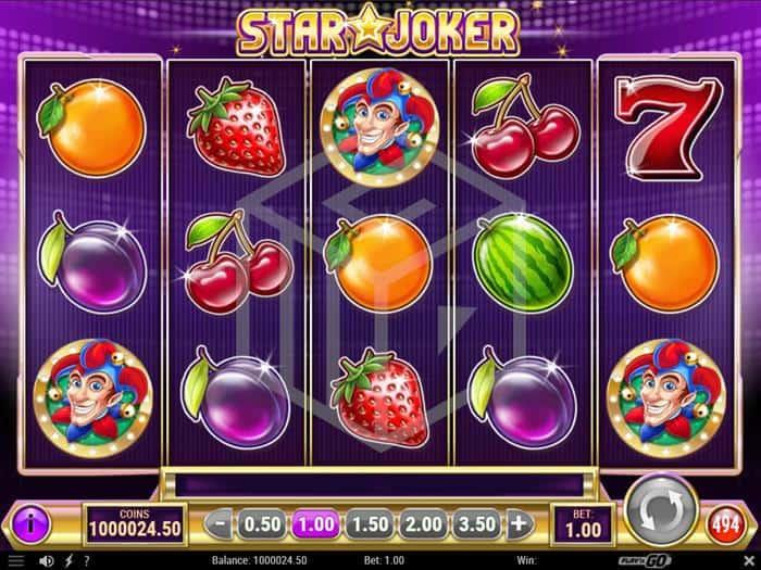 play n go - star joker. Image showing reels