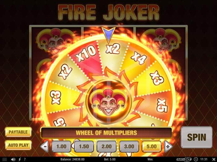 play n go - fire joker. Image showing multiplayer wheel