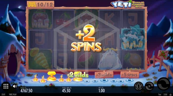 Thunderkick - Yeti. Image showing reels during free spins