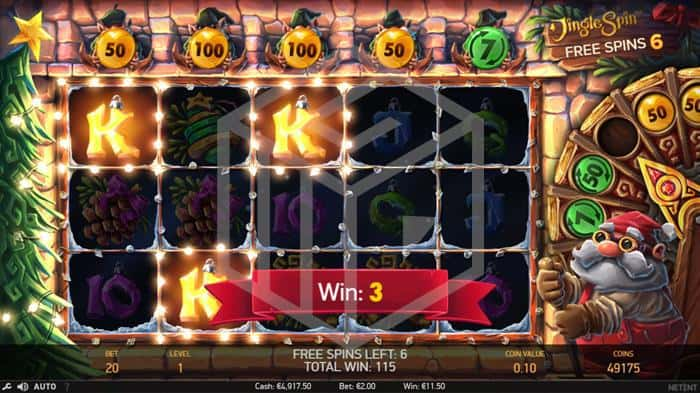 netent - jingle spin. Image showing reels during free spins