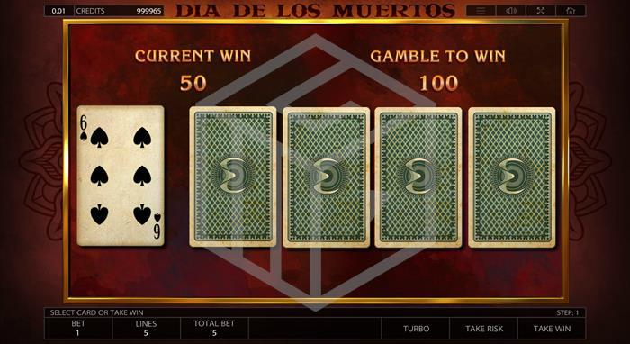 endorphina - Dia de los muertos. Imaghe showing gamble feature