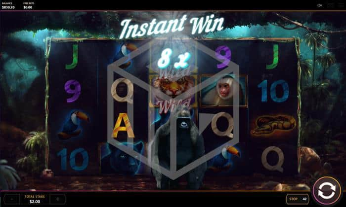 cayetano gaming - dark jungle. Image showing instant win feature2