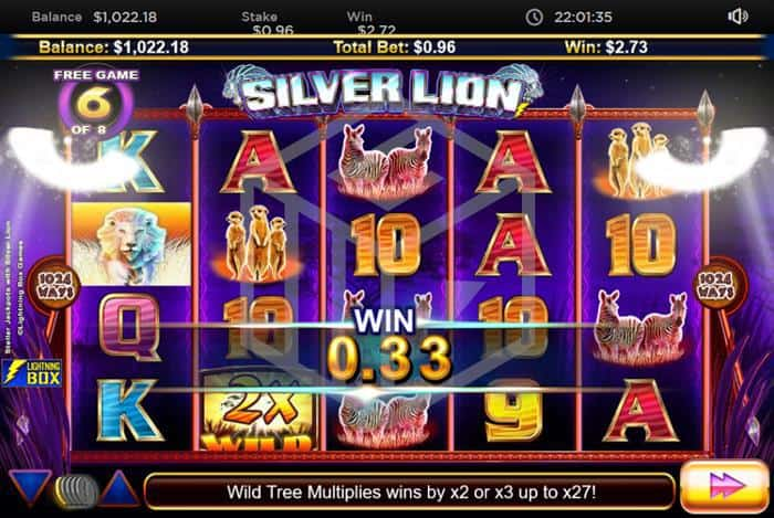 lightningbox - stellar jackpots with Silver lion. Image showing reels during free games