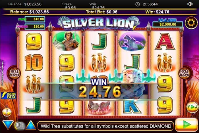 lightningbox - stellar jackpots with Silver lion. Image showing reels and jackpot trigger
