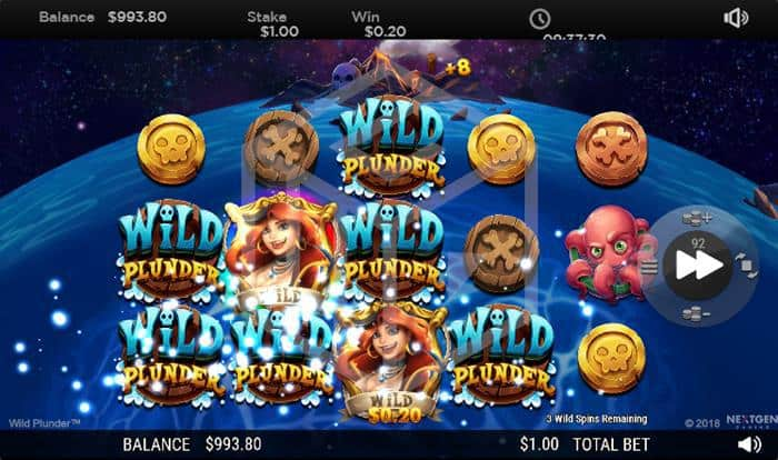 NextGen - Wild Plunder. Image showing reels during bonus