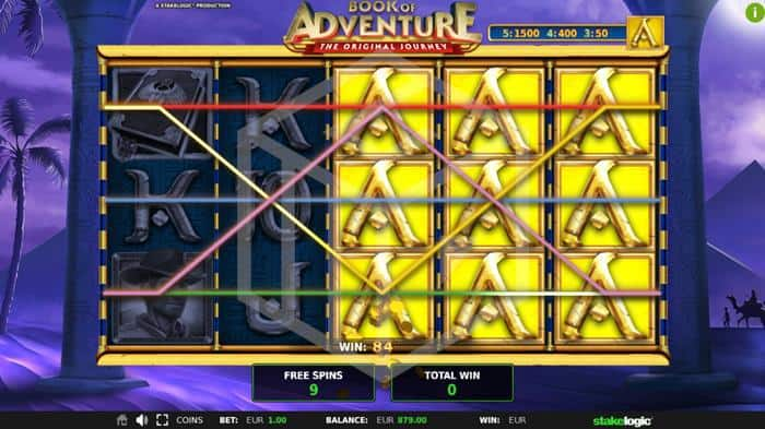 stakelogic - Book of Adventure. Image showing reels during bonus
