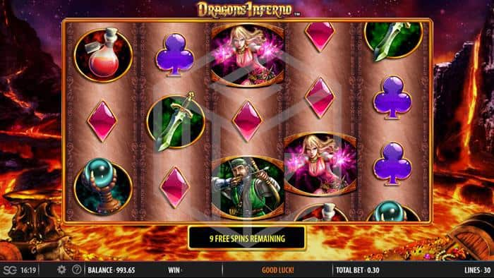 SG - dragons inferno. Image showing reels during bonus