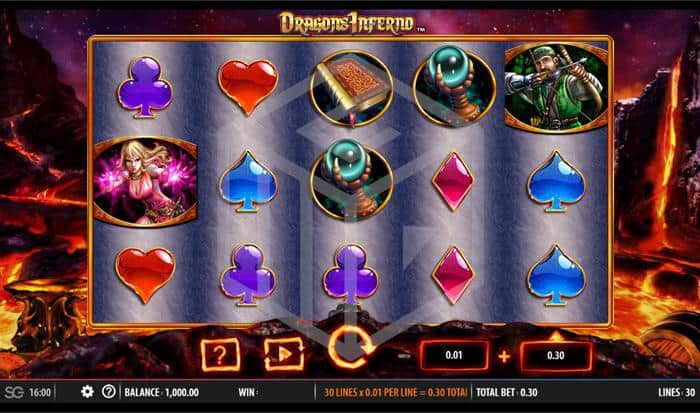 SG - dragons inferno. Image showing reels