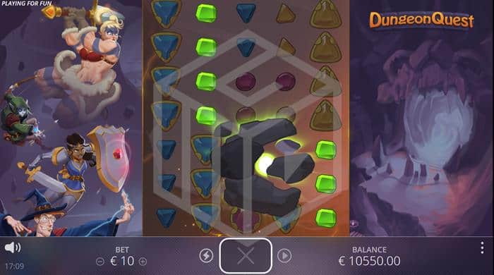 nolimit city - dungeon quest. Image showing power stone feature