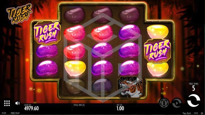 thunderkick - tiger rush. Image showing bonus feature reels