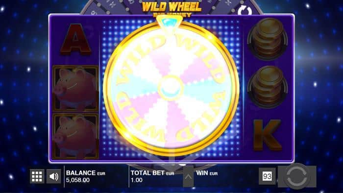 push gaming - wild wheel. Image showing bonus feature trigger