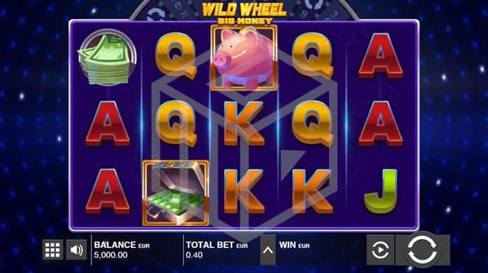 push gaming - wild wheel. Image showing reels