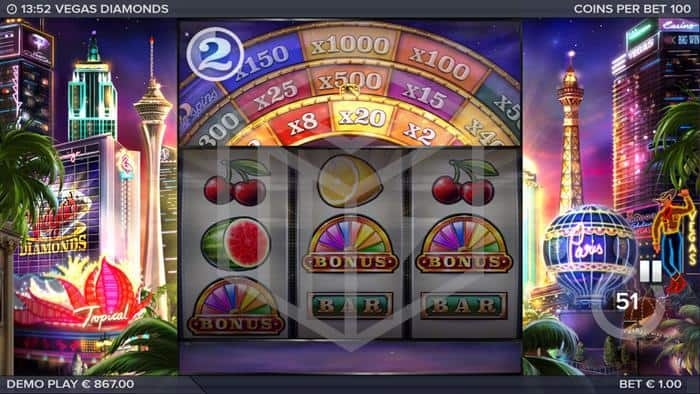 elk - vegas diamonds. Image showing bonus wheel
