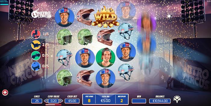yggdrasil - nitro circus. Image showing reels during free spins