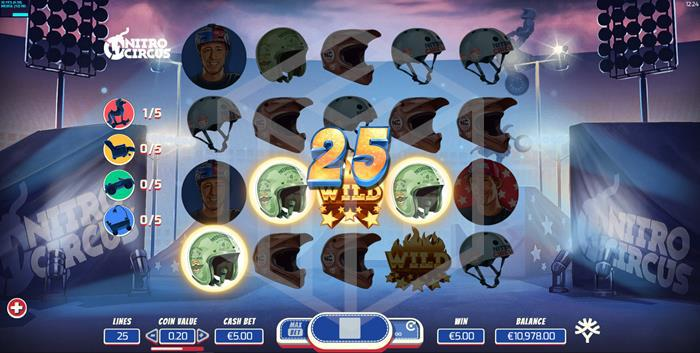 yggdrasil - nitro circus. Image showing reels during base game