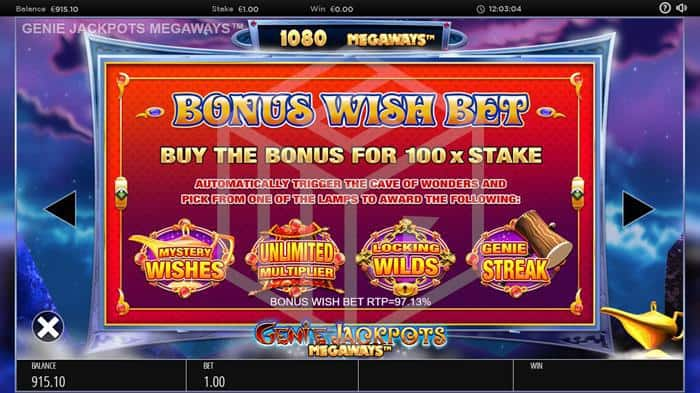 blueprint - genie jackpots megaways. image showing bonus features