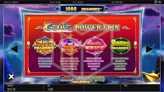 blueprint - genie jackpots megaways. Image showing random bonus features