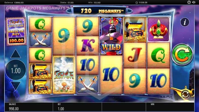 blueprint - genie jackpots megaways. Image showing reels