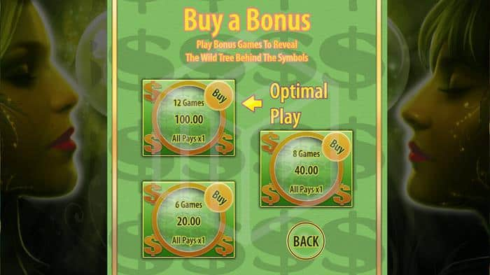 bally - acorn pixie. Image showing buy bonus feature