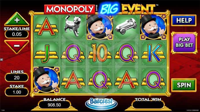 barcrest - monopoly big event. Image showing reels