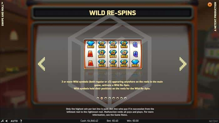 netent - swipe and roll. Image showing wild re spin feature
