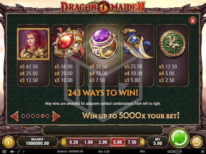 playngo - dragon maiden. Image showing top symbols