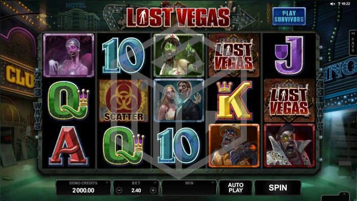 microgaming - lost vegas. Image showing reels and symbols1