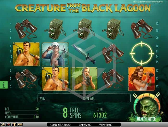 netent - creature from the black lagoon. Image showing bonus feature1