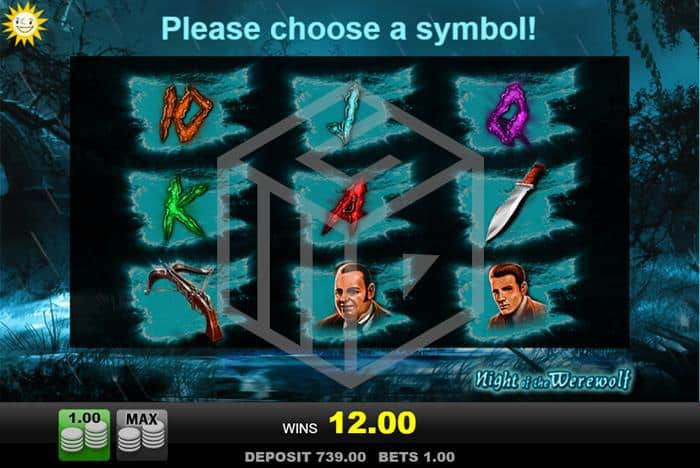 merkur - night of the werewolf. Image showing bonus symbol pick