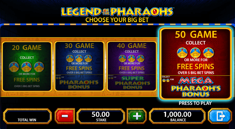 Legend of the Pharaohs big bet option
