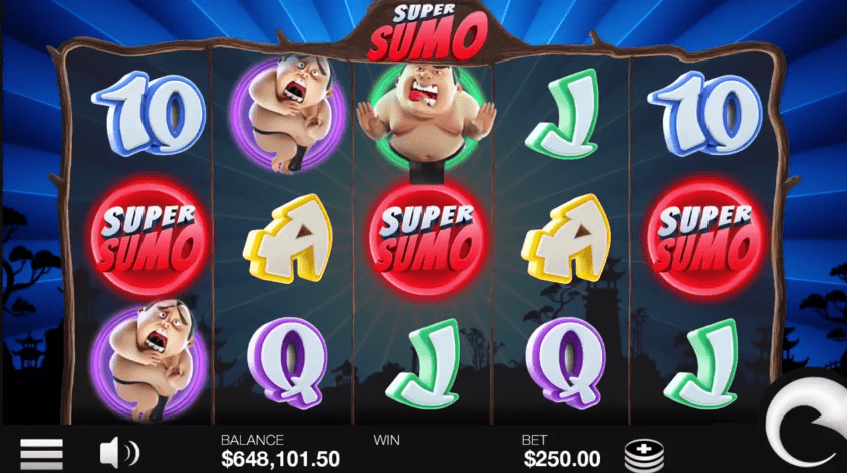 Super Sumo slot paying symbols wilds scatters