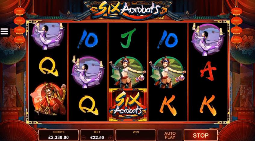 Six Acrobats slot symbols wilds