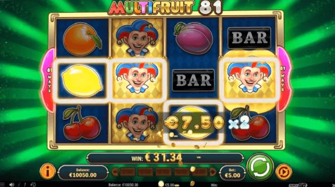 MultiFruit 81 slot multiplier feature
