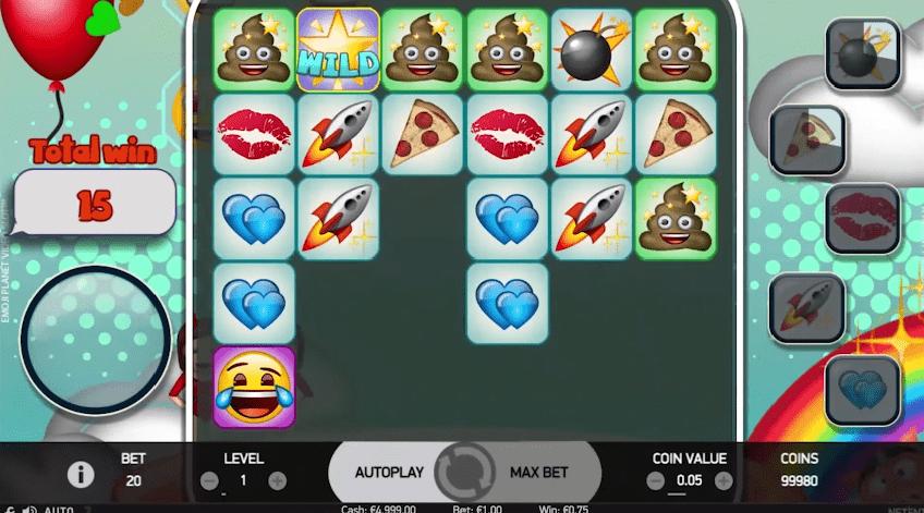 Emoji Planet slot game symbols wilds
