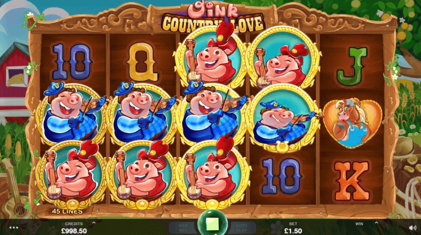 Oink Country Love free spins wilds