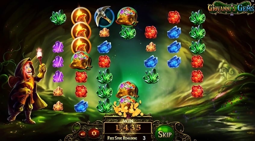 Giovanni's Gems free spins bonus