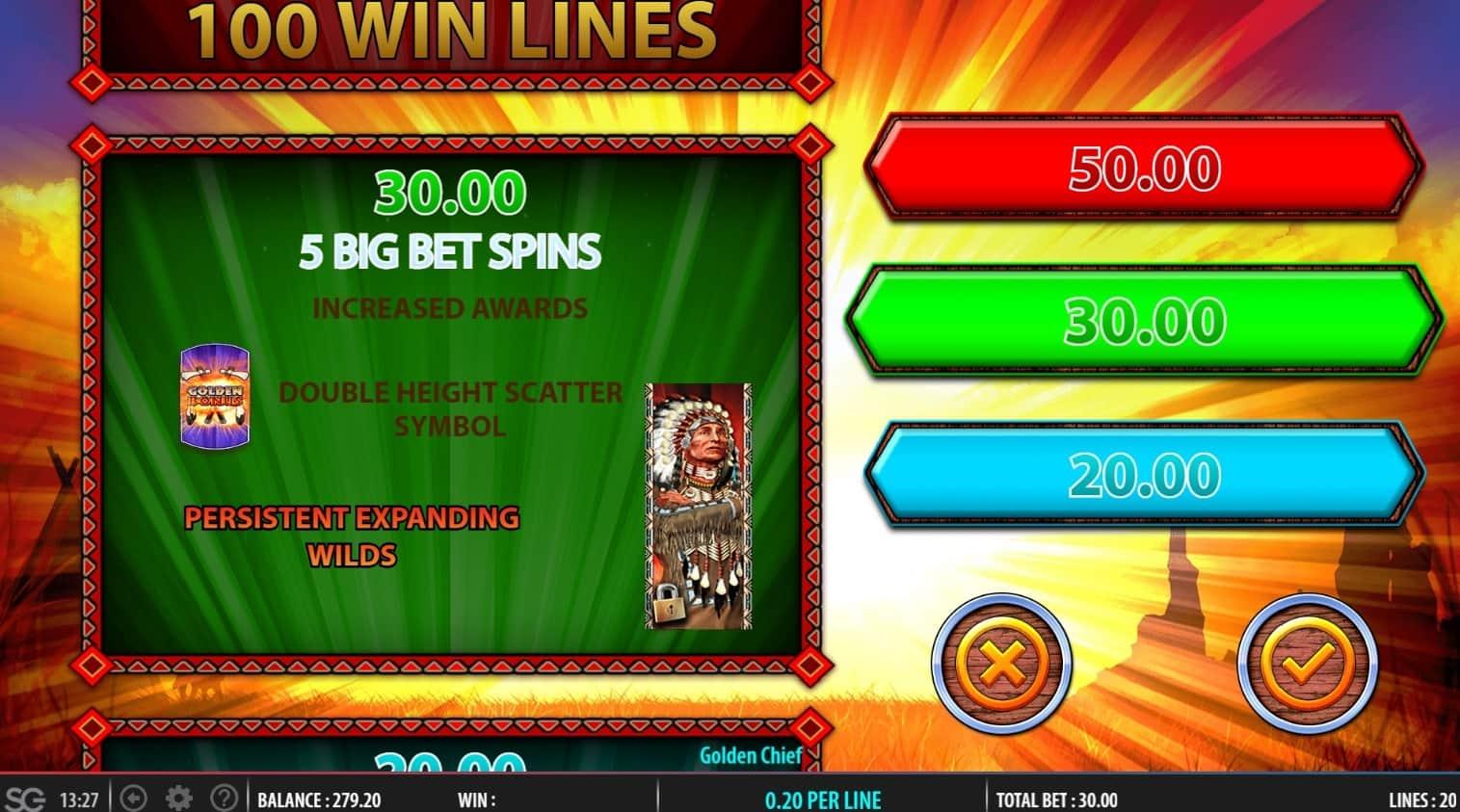 Golden Chief slot bonus